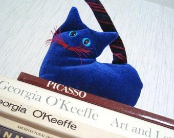 Blue Kitten, velvet  stuffed cat, desk accessory, shelf sitter, gift for cat lover, lavender sachet,sapphire ultramarine,blue and red,