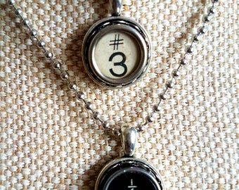 Genuine typewriter key pendants / necklace hashtag white or fractions black key / upcycled jewelry / initial monogram pendant / choose one