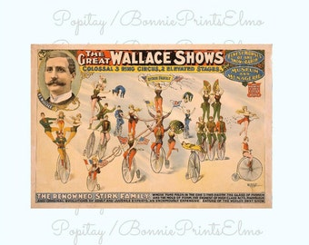 Vintage Circus Poster, Great Wallace Circus, Stirk Family bicyclists, Circus advertising, Carnival Act, Cyclist circus Act, Theater decor