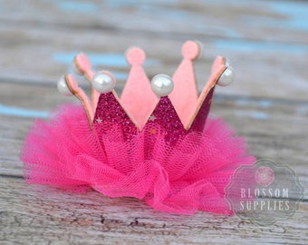 Hot Pink Glitter Pearl Ruffle Tulle Crowns - DIY Birthday Tiara Crown Headband Clip Hat - Wholesale Craft Supplies - 1st Birthday Bow