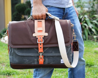 Waxed Canvas Messenger bag - briefcase - Military style + genuine leather accents - charcoal grey Orange - 010090