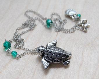 Majestic Sea Turtle Necklace   Sea Turtle Pendant Necklace   Hawaii Ocean Jewelry