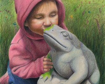 """A little girl in pink kisses a stone garden frog, he starts to come to life - Art Reproduction (Print) - """"You've Gotta Kiss a lot of Frogs"""""""