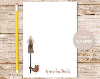personalized notepad . rustic birdhouse notepad . robin note pad . personalized stationery . bird stationary