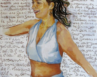 "Dancing Carioca, Rio, Brazil, Samba,La Garota,Lapa, French Writing,Smiling Woman,Original Mixed Media Painting 17x24"", Free Shipping in USA."