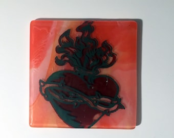Sacred Heart Fused Glass Coaster, sacred heart, tattoo, glassware, heart coaster