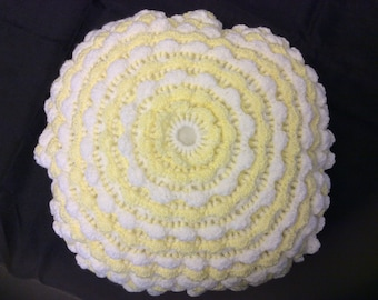 Handmade Yellow and White Round Crochet Cushion