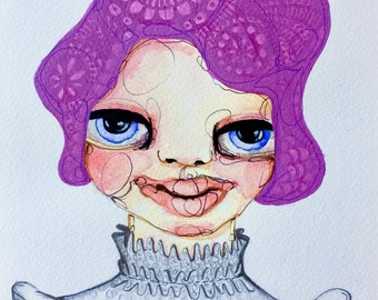 Small Watercolour and Graphite Original Drawing - Prudence