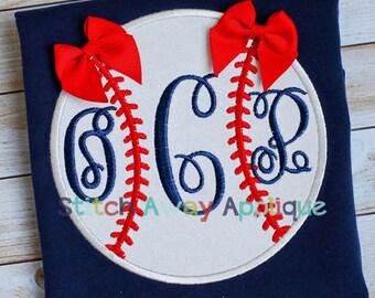 Plain Baseball Monogram Baseball Machine Applique Design