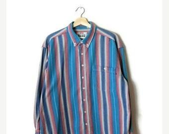 ON SALE Vintage Blue/Multi color stripe Men's Cotton shirt*