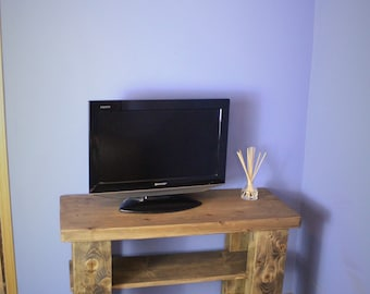 sideboard & TV stand, dark wood stain, eco friendly, 2 wood shelves, custom sizes, handmade modern rustic farmhouse style from Somerset UK