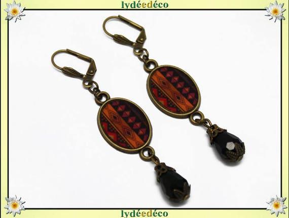 Earrings retro vintage oval cabochon black brown orange Africa brass beads glass pendants 20 mm x 15mm resin