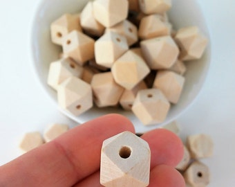 Hexagons of wood natural 14 mm, 12 mm and 10 mm-Unfinished Wooden hexagonal beads-Wooden beads supplies-beads of wood-Nursing necklaces