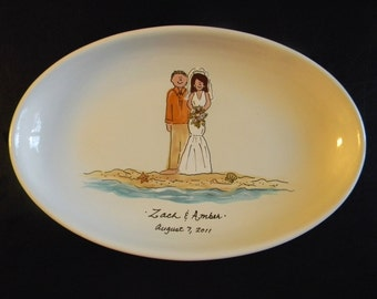 "Hand Painted 13"" Oval Ceramic Wedding Platter"