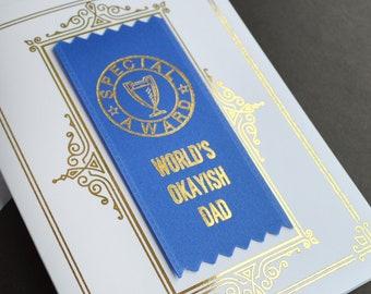 World's Okayish Dad Ribbon Card