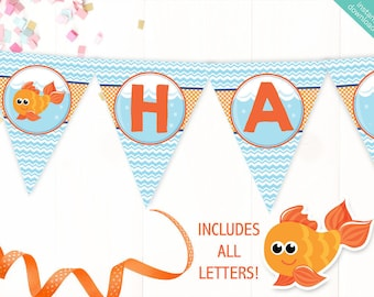 Instant Download Goldfish Printable Party Banner, Goldfish Happy Birthday banner, Fish Bowl Party, Includes ALL Letters + Ages