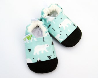 Eco-Canvas Vegan Polar Bear / non-slip soft sole baby shoes / made to order / Babies Toddlers Preschool