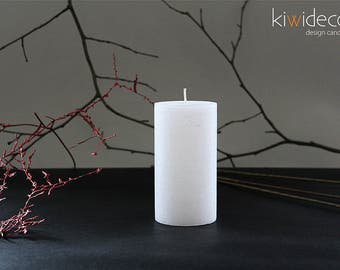 "Handmade Rustic Pillar Candle White Ice 55 x 105mm (2.16 x 4.13"") Scandinavian design home decor"