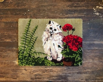 Vintage Cat Rug Meow Meow