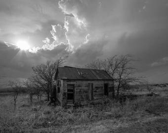 Farmhouse Photography Print - Black and White Picture of Small Abandoned House on Southern Kansas Prairie Old House Home Decor 4x6 to 30x45