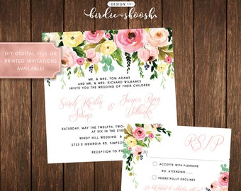 Floral Spring Vintage Bridal Wedding Invitations