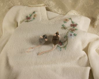 Needle Felted Mice Pin, Mouse Brooch, Miniature Mice