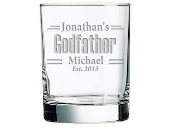 The Godfather Sandblasted Rock Glass