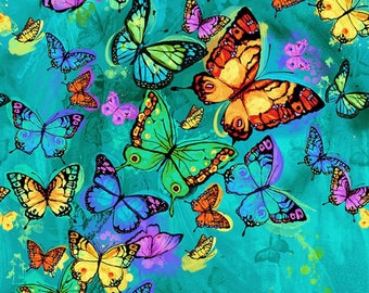 "Butterflies cotton panel -- approximately 23"" x 44"""