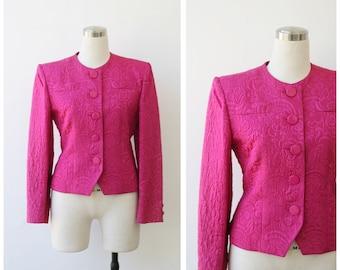 1980's Guy Laroche Paris Fuchsia Pink Jacket Quilted Jacquard Designer Evening Jacket XS Small