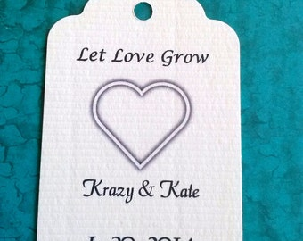 Wedding favor tags, 50 personalized tags