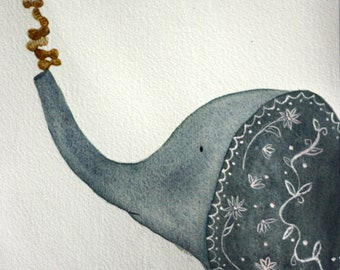 Elephant, original watercolor, children's art, whimsical art, peanuts, its all about balance, simple, inspirational, nursery art