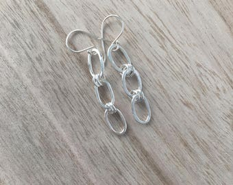 Small Oval Link Dangle Earrings