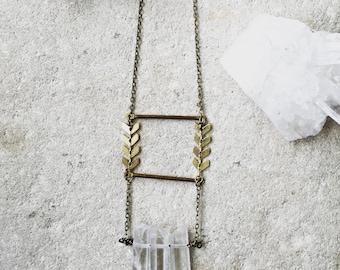 Clear Quartz Layered necklace, Boho necklace, Ladder necklace, Chevron