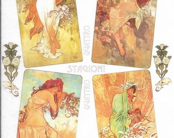 Rice Paper Sheet 22x32 cm Mucha 4 Seasons Art Decoupage Crafts Washi Paper