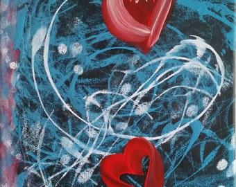 Abstract art, Heart Painting,Original Canvas Art,  Attraction