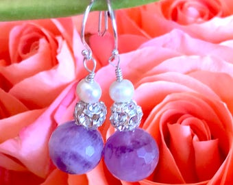 Amethyst, Pearl and Swarovski crystal set wrapped in sterling silver.