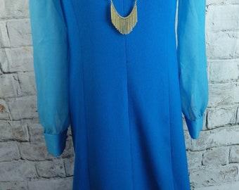 "Vintage 60s mxi dress 10 12 tall Bust 36"" blue turquoise long sheer sleeves shift sheath dramatic retro  blogger chic"