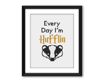 PDF - Every Day I'm Hufflin' Harry Potter Cross Stitch Pattern