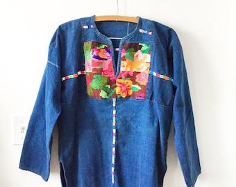 Vintage Guatemalan Indigo Top , Embroidered Ethnic Top