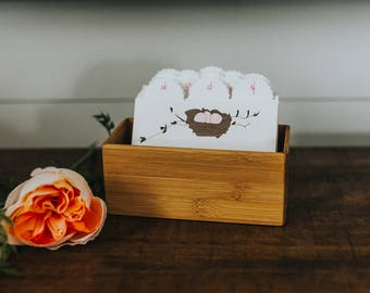 Baby Shower Guest Book Box Address Card File - Pink Nest