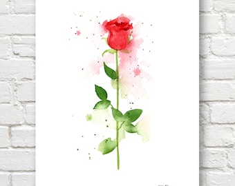 Single Red Rose Art Print - Red Flower Wall Decor - Floral Watercolor Painting