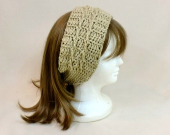 Crochet Headband Earmuffs, Beige Extra Wide Hairband, Tan Crochet Head Wrap, Turban Hair Tie Headband,  Ear Muffs Ear Warmer