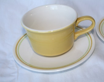 Vintage Mint Taylor Smith Ironstone Yellow CUP  Saucer Set 1950s 1960s