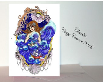 mermaid A6 card /sea witch, nautical pagan/wiccan card