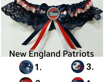 New England Patriots Satin/satin and lace Garter/Garter Set-Your choice of embellishment.