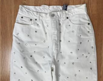 CLOSING SALE: Vintage 90s High waist white jeans crystals studded