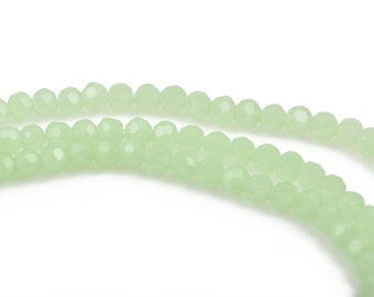 4mm LIGHT GREEN OPAL Glass Crystal Round Beads, Opaque Faceted Beads, 100 beads, bgl1550