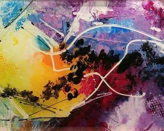 "Harmony, Modern artwork, abstract painting, acrylic on plexiglass 12""X30"""