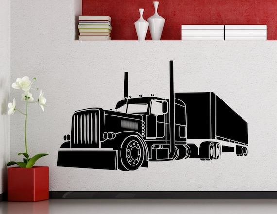 gros camion wall sticker long v hicule voiture automobile. Black Bedroom Furniture Sets. Home Design Ideas