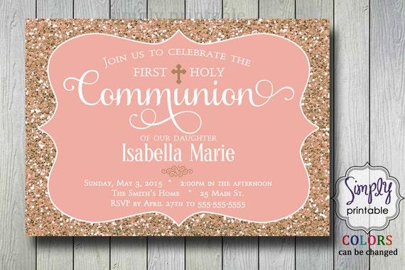 BaptismCommunion Invitation Rose Gold Glitter